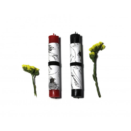 BDSM Low Temp Pillar Candles Set: Black & Red Waxplay Candles