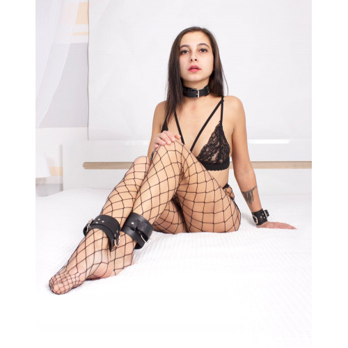 Leather BDSM Cuffs Set: Handcuffs and Leg Cuffs for Bondage