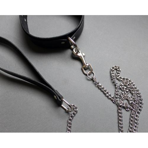 Leather BDSM Bondage Collar and Leash