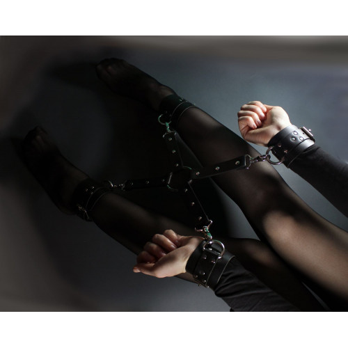 Leather BDSM Cuffs Hogtie Set for Bondage