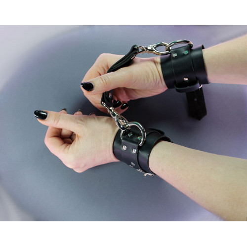 BDSM Leather Handcuffs with Double Fixation Set for Bondage