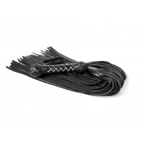 Leather BDSM Flogger with Weaving