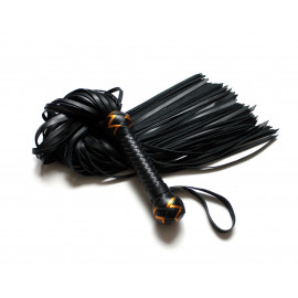 Leather Flogger Whip with Weaving
