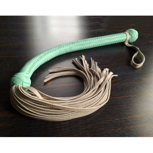 Leather BDSM Flogger with Soft Handle and Flexible Lead
