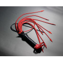 Black Leather Cat o Nine Flogger with Eleven Red Tails for BDSM