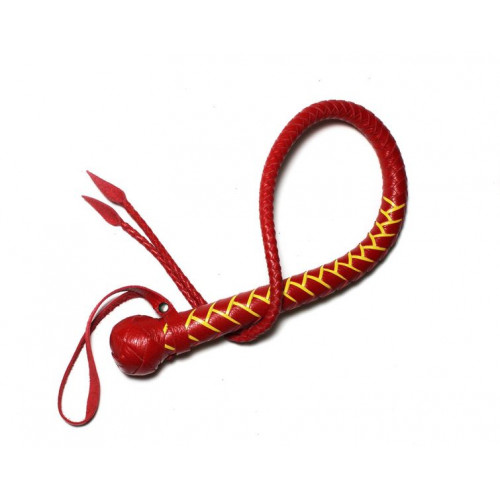 Leather Snake Whip with Weaving
